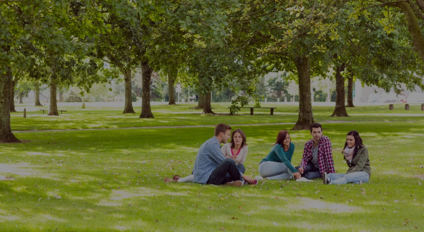 Dark_Group of young college students sitting on grass in the park.png